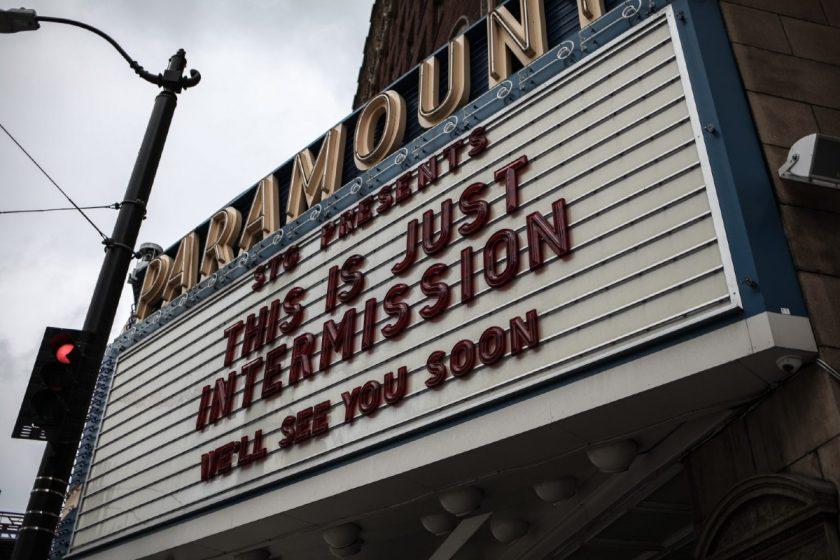 "Paramount cinema billboard: covid-19 ""intermission"". Photo by Nick Bolton on Unsplash"