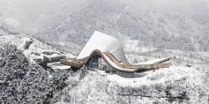 China: Hilltop Gallery with 'moonlight exteriors' completes in Yanshan mountains