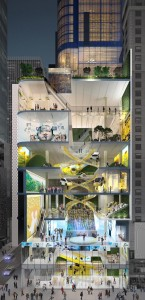 A rendering of themultiplle floors of TSX Broadway / courtesy of L&L Holding Company