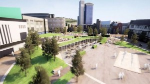 Artist's impression of how a revamped Swansea's Castle Square could look