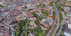 Aerial view of Church Wharf development, Bolton