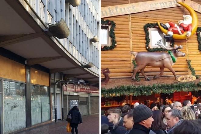 Birmingham montage: deserted high street, left and crammed Bullring Christmas market, right