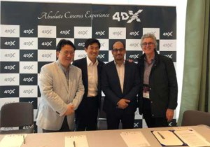 (L-R) Mr Theodore Kim Chief Partnership Officer CJ-4DX, Mr Jung Seo CEO CJ-4DX, Mr Majed Baffani COO MUVI Cinemas, Mr John Sullivan, Director The Big Picture.
