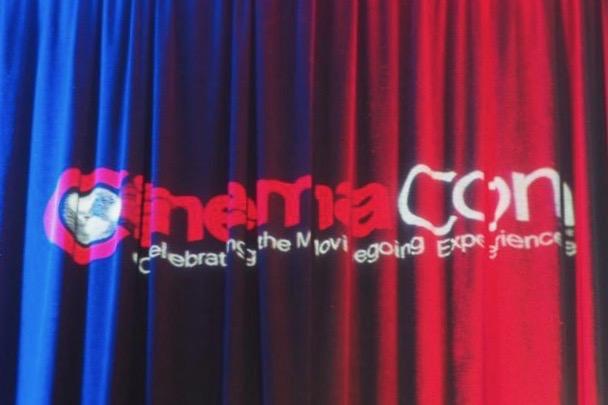 CinemaCon 2018 logo on curtains