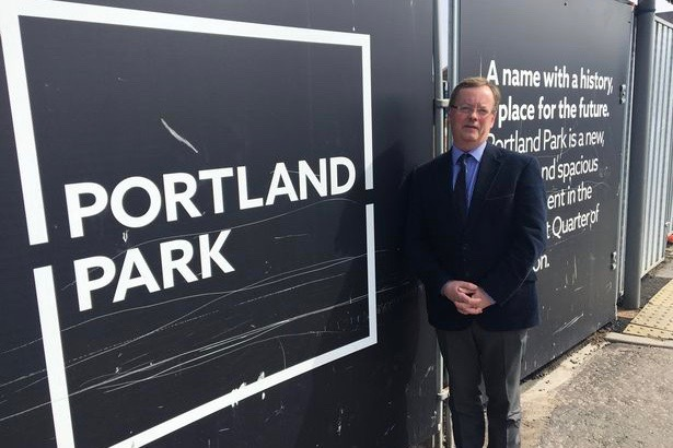 Council leader Peter Jackson at the Portland Park site (Image: Copyright Unknown)