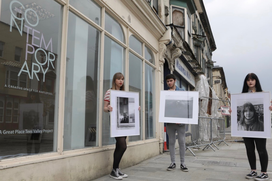 Photography students from the Northern School of Art preparing for a show of their work at Empty Shop in Hartlepool. Photograph: Gary Calton/The Observer