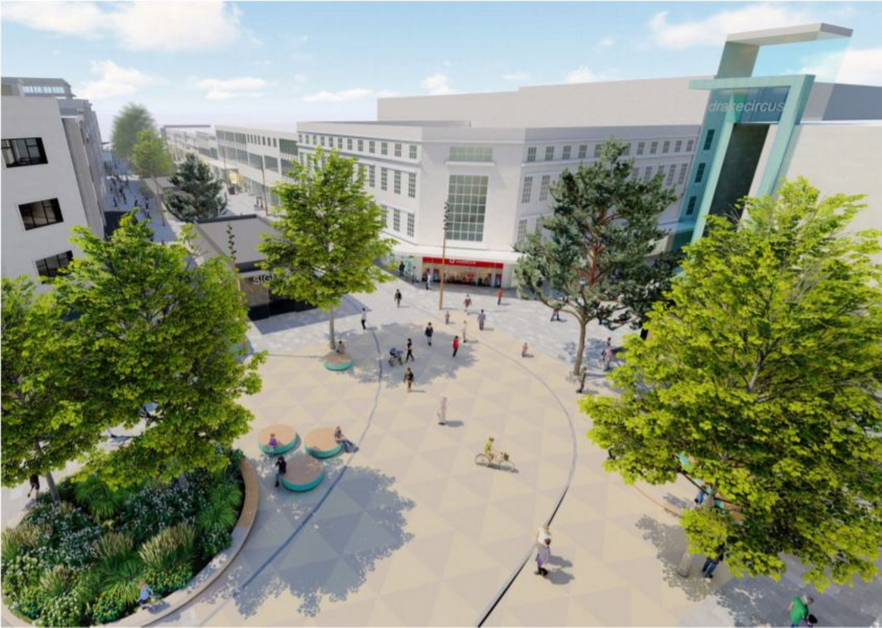Aerial artist impression of Plymouth development