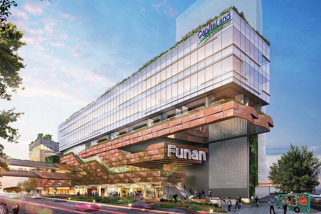 An artist's impression of the new Funan mall's facade along Coleman Street Junction. Photo: CapitaLand