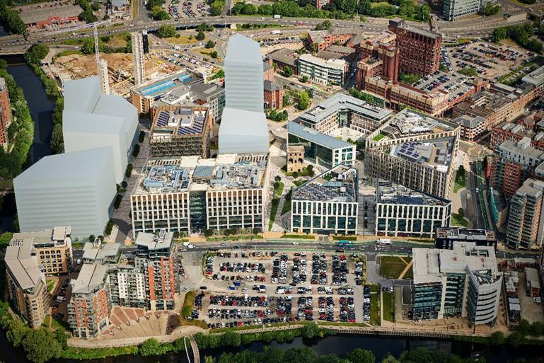 Aerial CGI of Wellington Place in Leeds