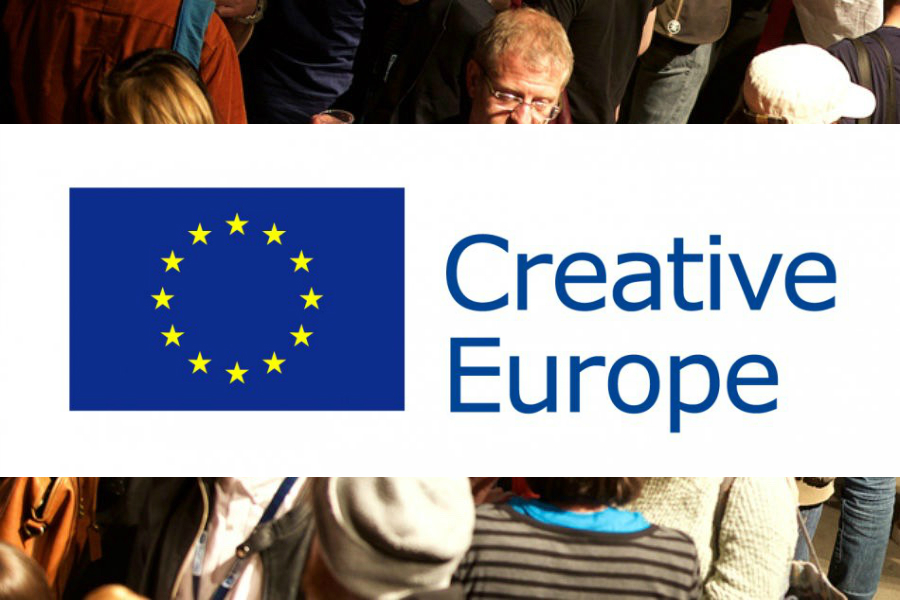 Crowd behind Creative Europe logo