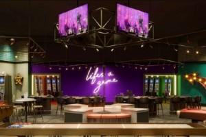 Neon-lit casino interior