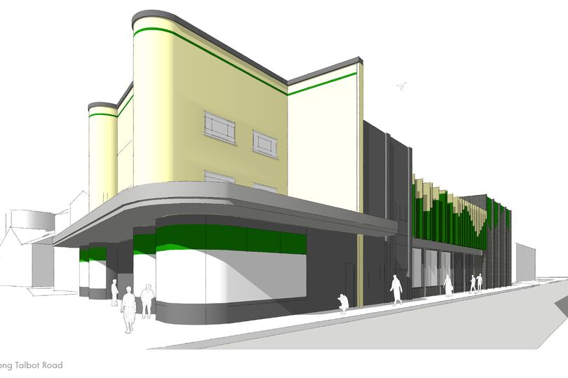 Elevation of planned refurbishment for Port Talbot Plaza Cinema