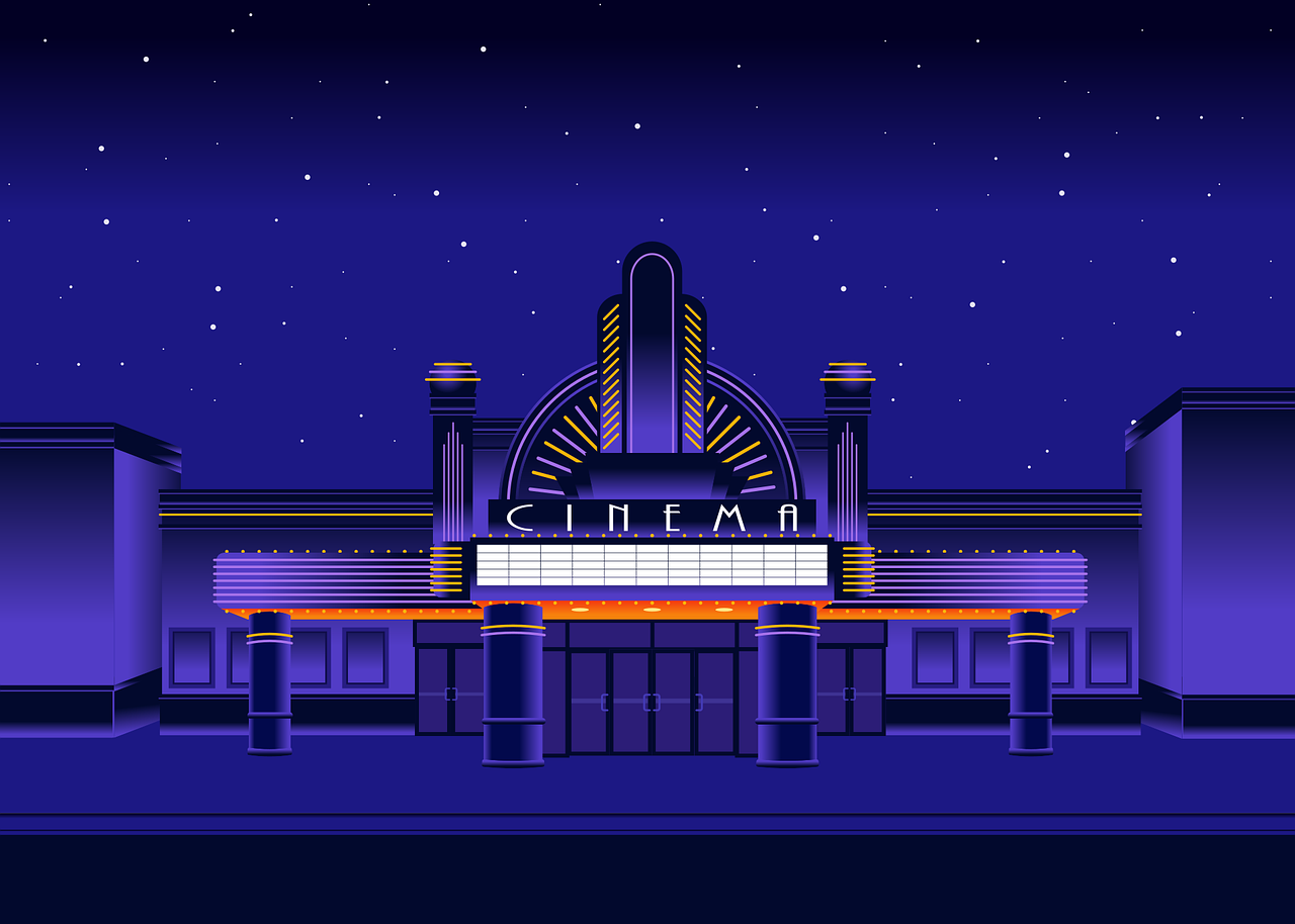 Illustration of Art Deco cinema, by Jeff Jacobs from Pixabay