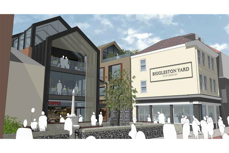 Artist impression of plans for Biggleston Yard, Canterbury