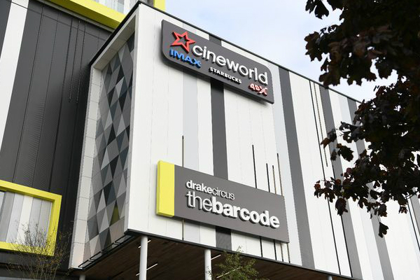 Cineworld multiplex at The Barcode leisure complex in Plymouth