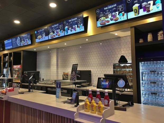 Concession bar at ODEON Luxe cinema in Bromborough, Wirral
