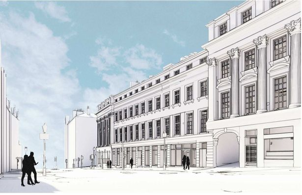 The Grey Street view of the planned Malhotra Group hotel (Image- Space Architects--Malhotra Plc)