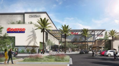 Renderings show the Costco entrance, with a glimpse of the luxury cinema and fitness center on the top level. Images: Westfield Valencia Town Centre