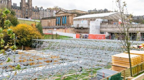 Scaffold structure of the Edinburgh Christmas Market
