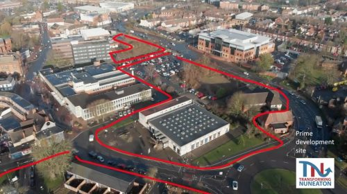 Transforming Nuneaton, aerial photo with project outine