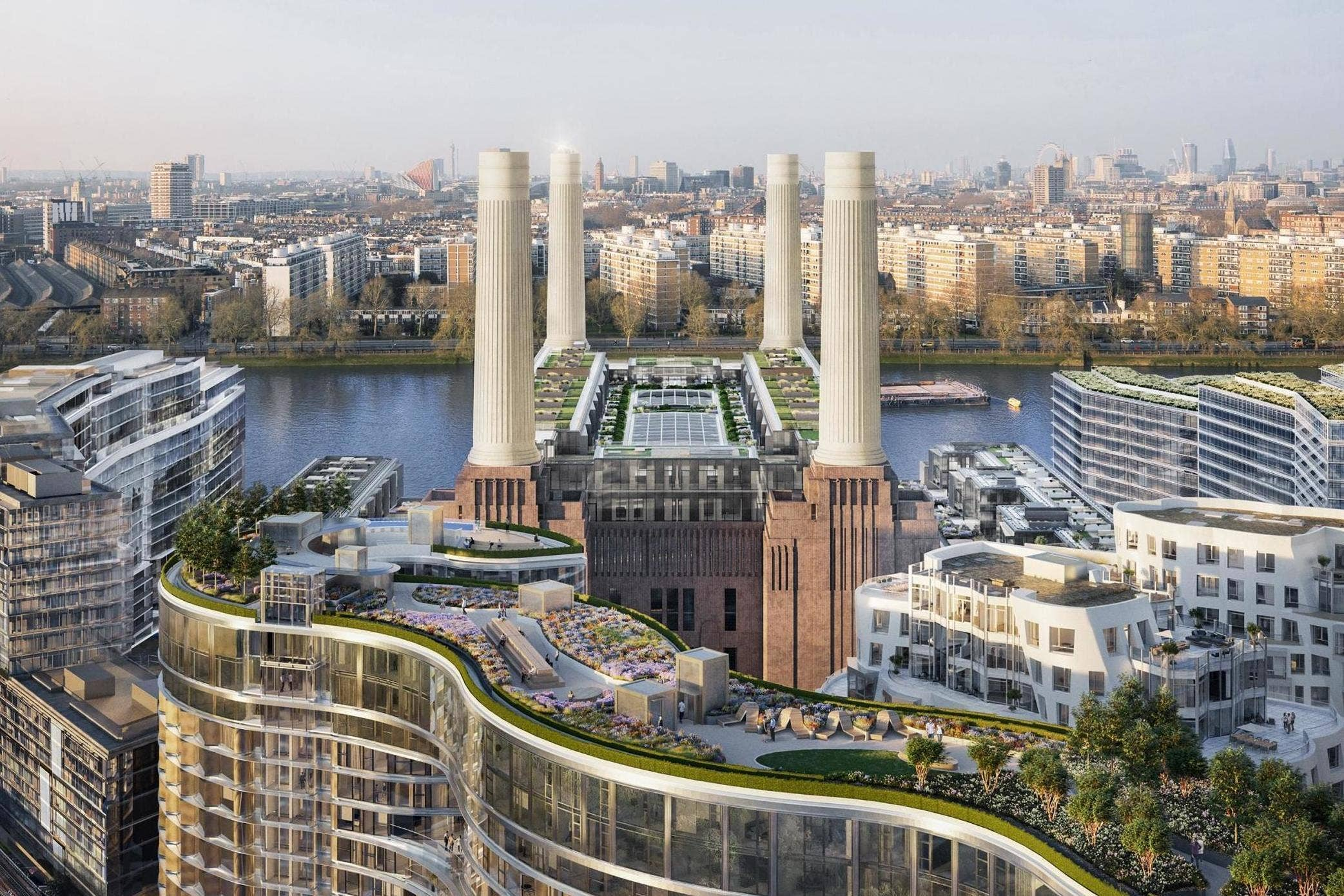 Aerial CGI of Battersea Power Station development