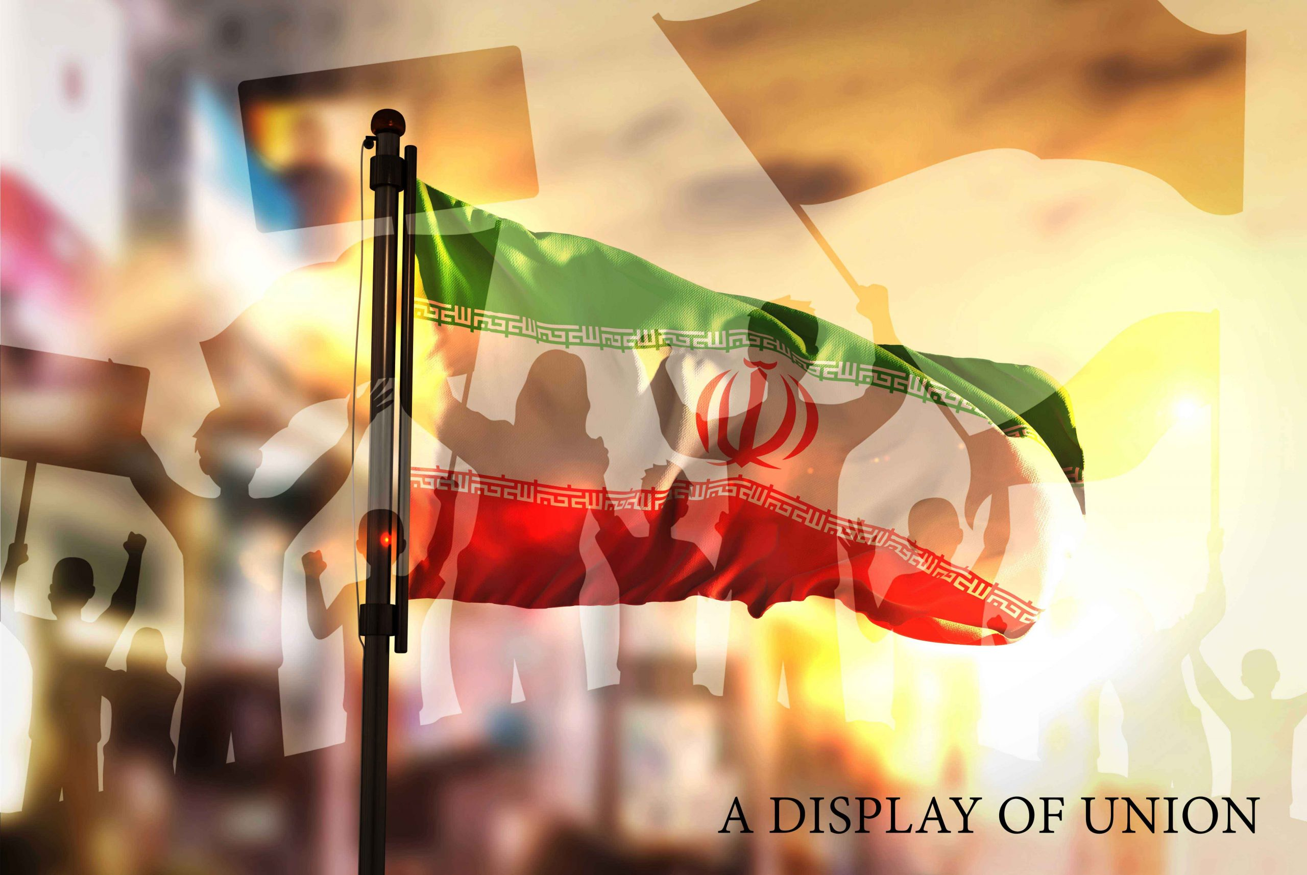 Iran Flag Against City
