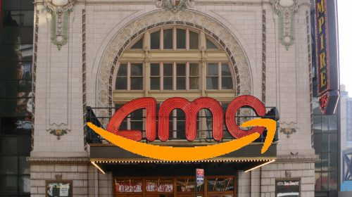 AMC Empire Theater NYC with Amazon smile logo superimposed
