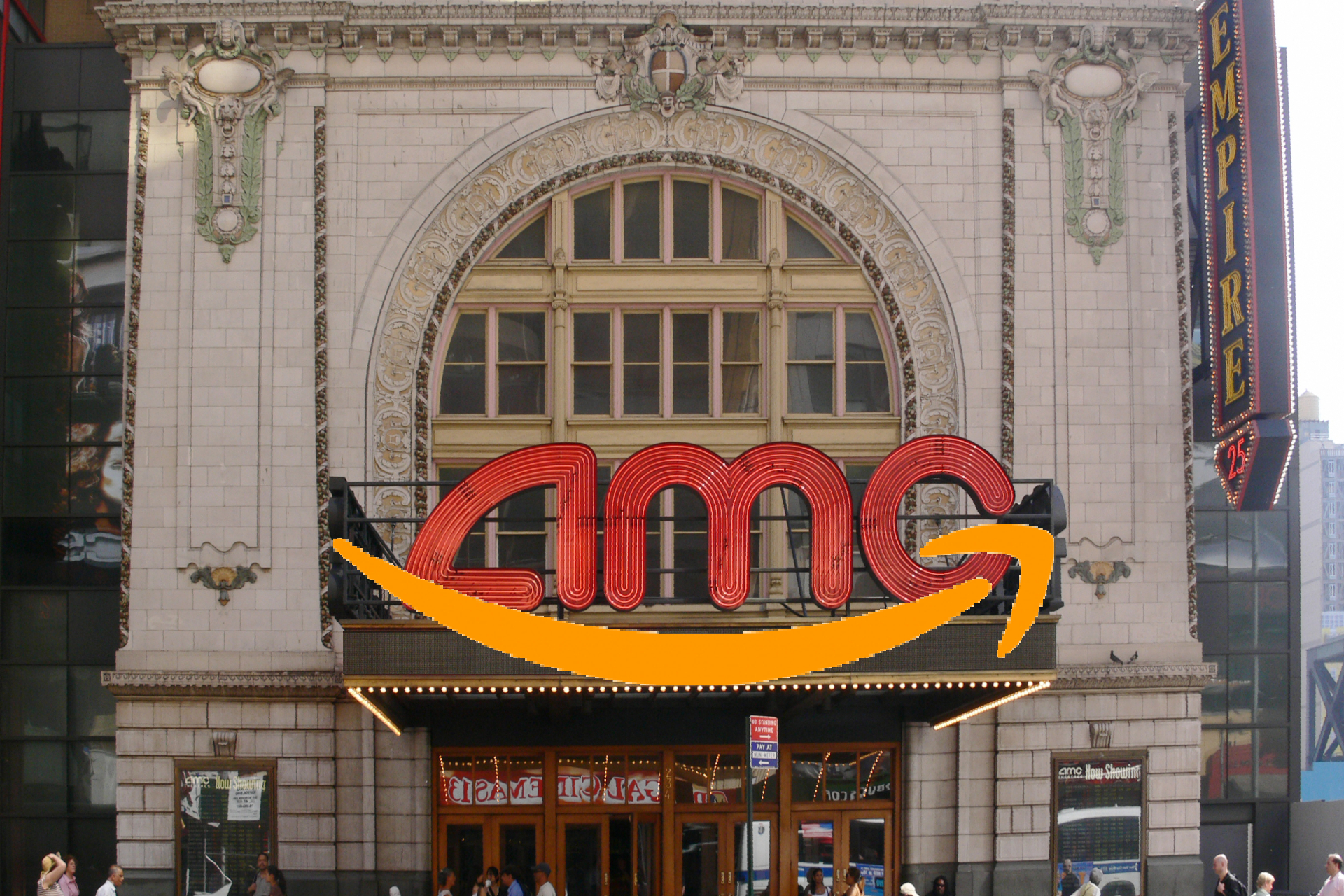 AMC Empire Theater NYC with Amazon smile logo superimposed