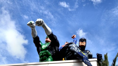 Batman and Robin figures at the DC Comics Superstore, WB Movie World
