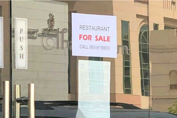 For sale sign on restaurant. Photo from Gulf News
