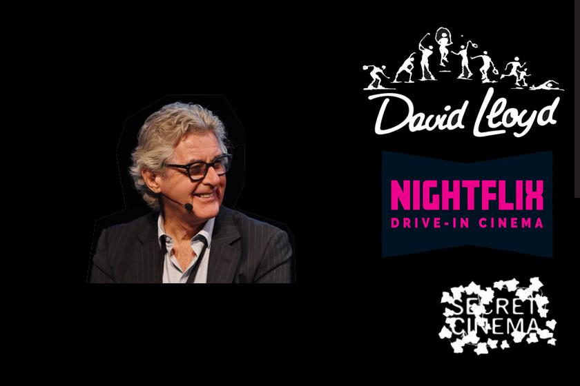 John Sullivan with David Lloyd, Nightflix and Secret Cinema logos