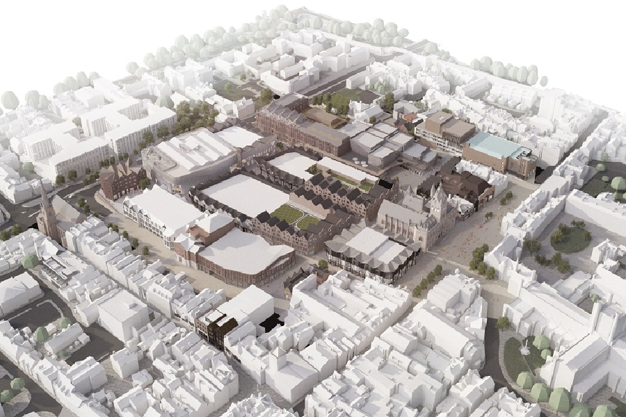 Aerial CGI of Northgate development, Chester