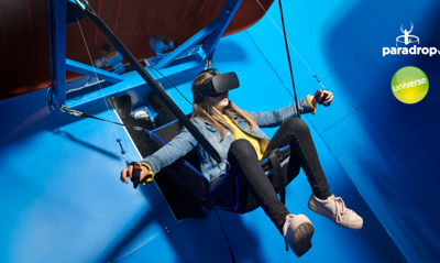 Rider on the Paradrop VR platform. Credit: Universe Science Park