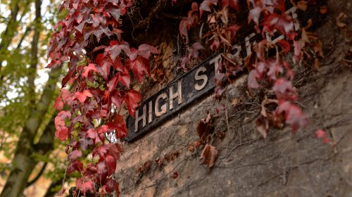 'High St.' sign, overgrown. Photo from piqsels.com