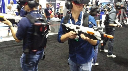 VR gamers with guns. Photo KWP
