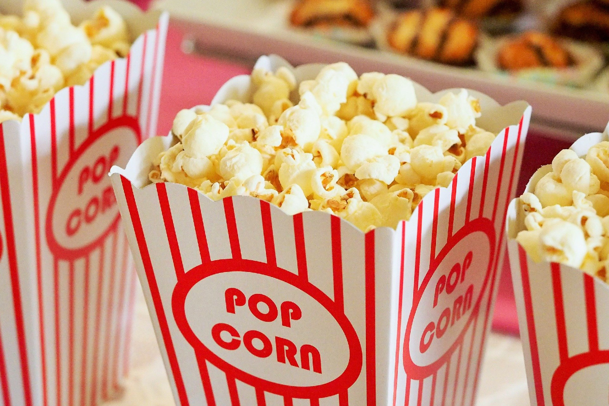 Cinema popcorn. Image by Devon Breen from Pixabay