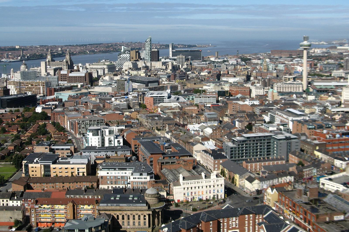 A view of Liverpool city centre viewed from the Anglican Cathedral. Photo from Wikimedia nCommons